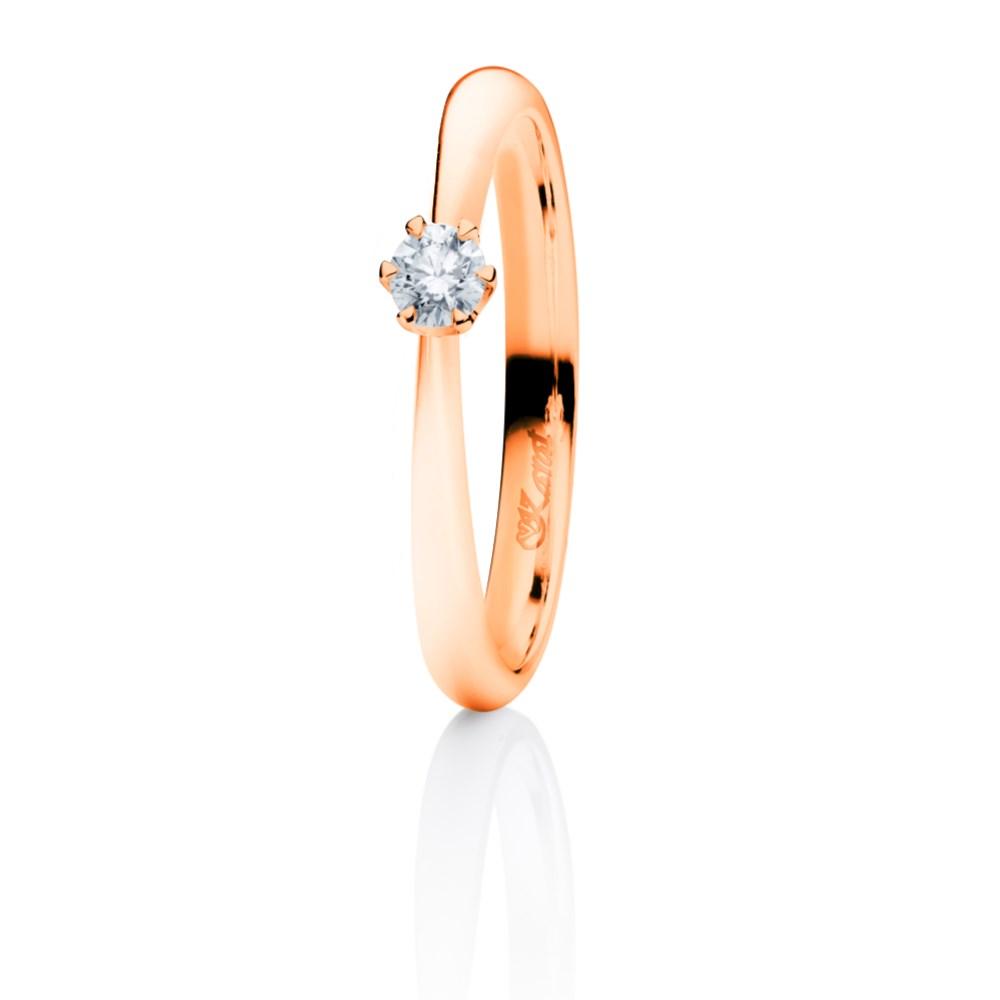 Juwelier Karat Ring Rotgold 585/- 0,10ct