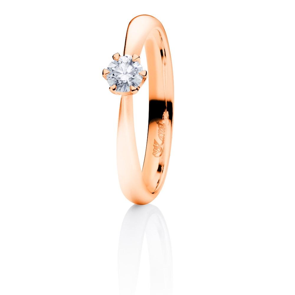 Juwelier Karat Ring Rotgold 585/- 0,20ct