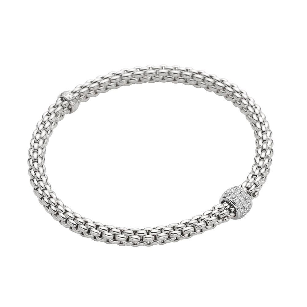Fope Armband - SOLO Collection - 634B PAVE B - Weissgold 750/- Länge M
