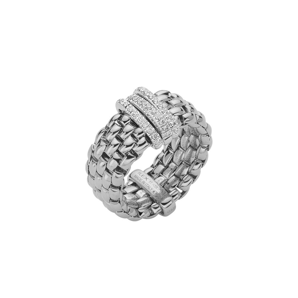 Fope Flex'it Ring - PANORAMA Collection - AN587 PAVE B - Weissgold 750/- Weite M
