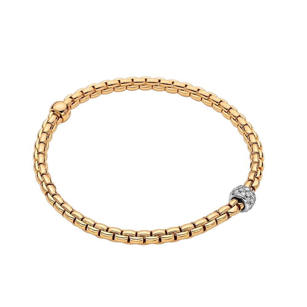 Fope Flex'it Armband - EKA TINY Collection - 733B PAVE GB - Gelbgold 750/- Länge XL